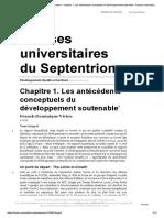 Développement durable et territoire - Chapitre 1. Les antécédents conceptuels du développement soutenable - Presses universitaires du Septentrion