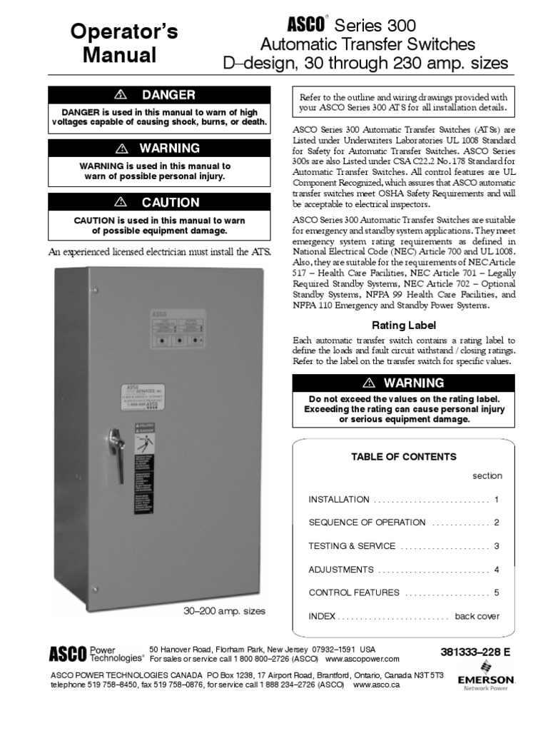 Electrical Best Of Wiring Asco Automatic Transfer Switch Series 300 200 Diagram Auto Relay Honda For Generator