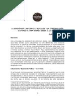 GUILLERMO ROCHABRÚN – LA DIVISIÓN DE LAS CIENCIAS SOCIALES Y LA EPISTEMOLOGÍA CAPITALISTA 2