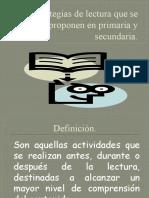 Estrategias de lectura que se proponen en primaria y secundaria