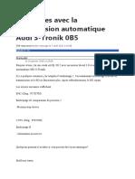 Problèmes Avec La Transmission Automatique Audi S