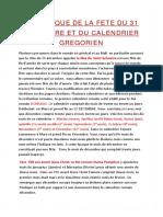 HISTORIQUE DE LA FETE DU 31 DECEMBRE ET DU CALENDRIER GREGORIEN