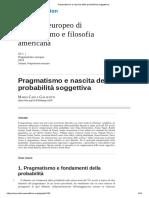 Pragmatismo e Nascita Della Probabilità Soggettiva
