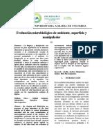 lab 2 Evaluación microbiológica de ambiente, superficie y manipulador