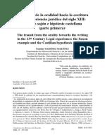 El Tránsito de La Oralidad Hacia La Escritura en La Experiencia Jurídica Del Siglo XIII Parte Primera