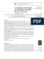 Guests' perceptions on factors influencing customer loyalty An analysis for UK hotels