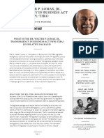 Dr. Walter P. Lomax Transparency in Business Act Fact Sheet