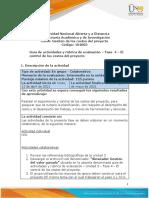 Guia de actividades y Rúbrica de evaluación - Unidad 3 - Fase 4 - El control de los costos del proyecto