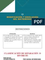 MODIFICACIÓN Y DISOLUCIÓN DEL MATRIMONIO