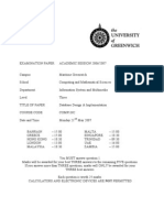 Database Design and Implementation Exam June 2007 - UK University BSc Final Year