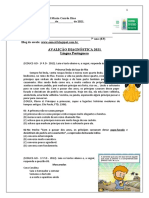 7º ano -Língua Portuguesa-Avaliação Diagnóstica 2021 8º ano- Ensino Fundamntal