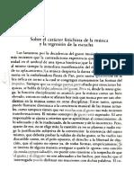Sobre El Carácter Fetichista de La Música y La Regresión de La Escucha; Adorno