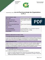 Syllabus Psychociologie des Organisations en PL 2 (2020)