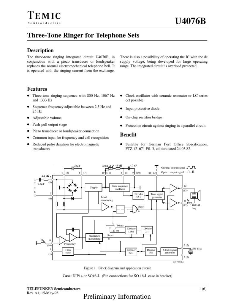 U4076 Capacitor Electronic Oscillator Vol Tone Piezo Wiring Diagram