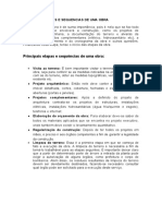 PRINCIPAIS ETAPAS E SEQUENCIAS DE UMA OBRA - TEC IV