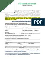 Formulaire de candidature FES Green