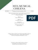 Revista Musical Chilena.  Santiago de Chile. Año LXIV, N° 213 Enero-Junio, 2010.