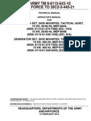 ARMY TM 9-6115-643-10 (15kW TQG Operators Manual) | Personal