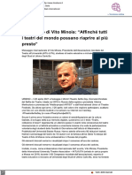 Messaggio di Vito Minoia affinché possano riaprire i teatri di tutto il mondo - Il Metauro.it, 19 aprile 2021