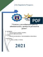 """""""Técnicas y procedimientos para la administración y gestión de personal de pymes"""""""
