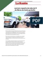 26-06-2019 Inicia en Guerrero reparto de más de 5 millones de libros de texto gratuito