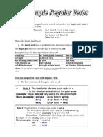 Simple Past Regular Verbs informative sheet
