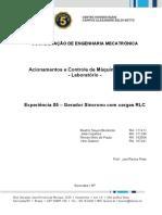 Acionamentos e Controle de Máquinas Elétricas  - Gerador Síncrono com cargas RLC
