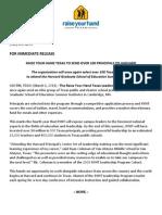 RYHT Harvard Press Release