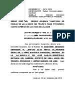 Apersonamiento Violencia Familiar Justina Huallpa Tami