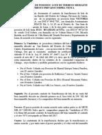 Transferencia de Posesion Lote de Terreno Mediante Documento Privadocompra Venta Victoria Suarez Panebra