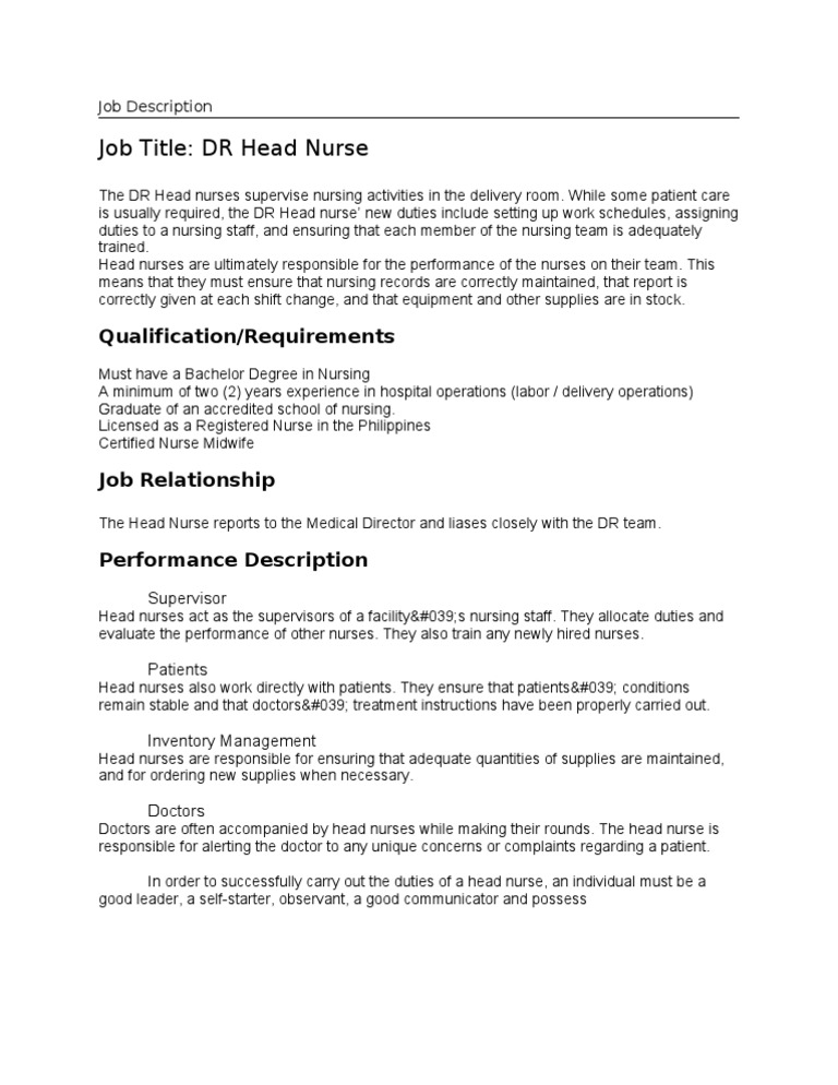 job description dr head nurse. Resume Example. Resume CV Cover Letter
