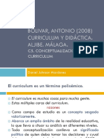 BOLIVAR, Antonio (2008) Conceptualización del curriculum