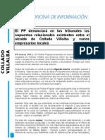 PP Collado Villalba denunciará en tribunales las supuestas relacionales existentes entre el alcalde y varios empresarios locales