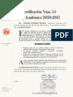Certificaciones Núms. 54, Año 2010-2011, del Senado Académico del Recinto de Río Piedras sobre los incidentes violentos ocurridos el lunes, 7 de marzo de 2011 en la Escuela de Arquitectura.