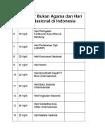 Hari Besar Bukan Agama dan Hari Libur Nasional di Indonesia