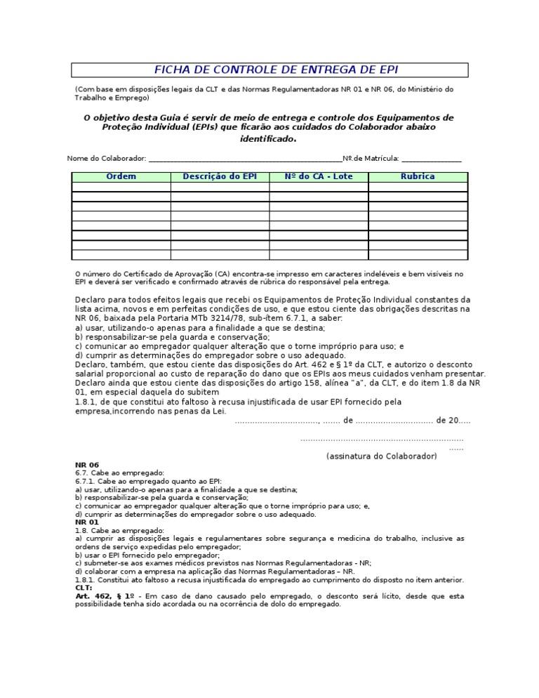 da73c201bb8 Ficha de EPI Modelo com CA | Government | Politics