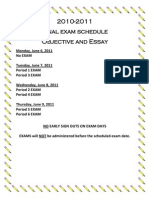 Final Exam Bell Schedule 10-11