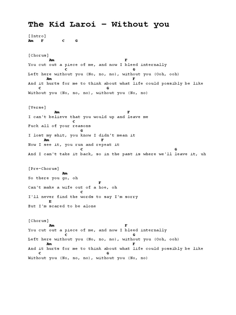 I'm Here Without You Lyrics And Chords