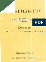 Peugeot 404 Diesel Moteur Indenor XD 88 Caracteristiques Et Description Technique