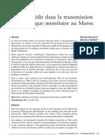 rôle du crédit dans la transmission de la politique monétaire au Maroc
