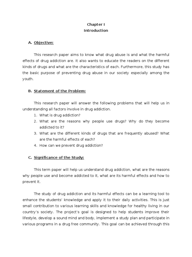 Research paper of drug addiction