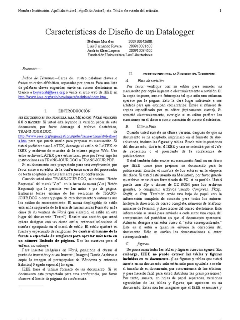 Único Plantilla De Word De Papel Ieee Festooning - Colección De ...