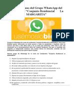 Normas de uso del Grupo Whatsapp del Conjunto Residencial La Margarita