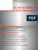 PERSONAL QUALITIES OF AN EFFECTIVE MANAGER