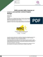 La sostenibilità sociale delle imprese si impara alla summer school Impact Design - Brand-news.it, 22 aprile 2021