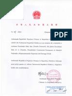 Scrisoare CHINA Președinte
