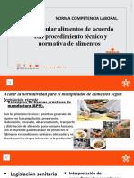 INDUCCION A LA NORMA MANIPULACION DE ALIMENTOS