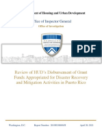 Review of HUD's Disbursement of Grant Funds Appropriated for Disaster Recovery and Mitigation Activities in Puerto Rico