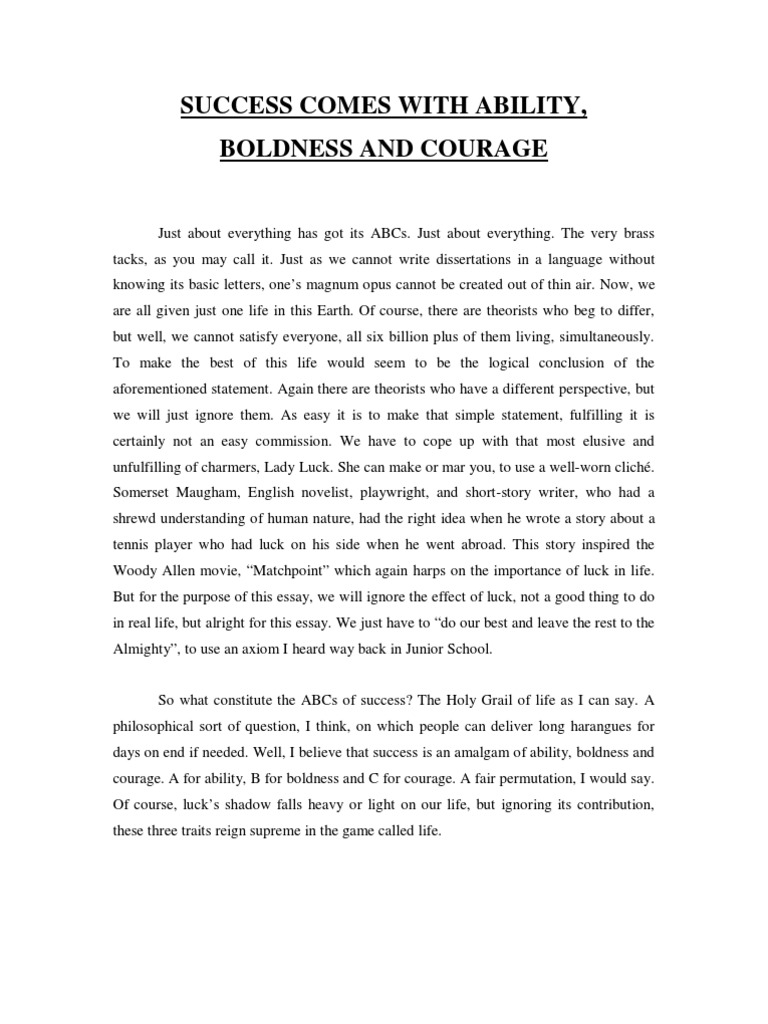 short essay about success It is the one great secret of success in life short essay on perseverance short paragraph on 'perseverance is the key to success' short essay on indian.