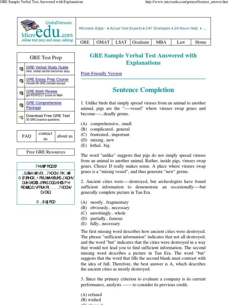 gre sample essays